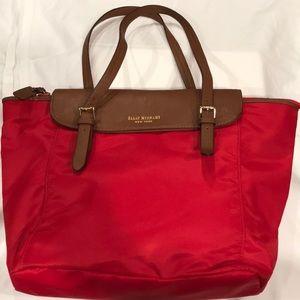 ISAAC MIZRAHI red fabric shoulder bag